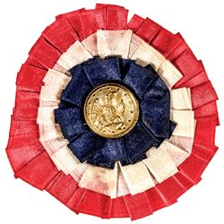 c. 1863 Civil War Patriotic Union Silk Rosette Ribbon with Naval Button
