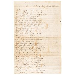 1864 Civil War Handwritten Poem Titled: Our Nations Flag by its Defenders + More
