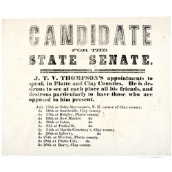 1860s Printed Political Broadside - Liberty, MO., CANDIDATE FOR THE STATE SENATE