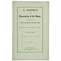 1861, A SERMON ON THE Preservation of the Union...., by Joseph Roset