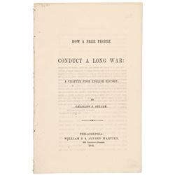 1863 Political Civil War Pamphlet, HOW A FREE PEOPLE CONDUCT A LONG WAR