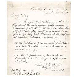 1862 Gen. SAMUEL DAVIS STURGIS Autograph Document Signed Command of Washington