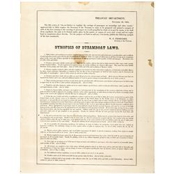 1864 Civil War Broadside titled: Synopsis of Steamboat Laws, by W.P. Fessenden
