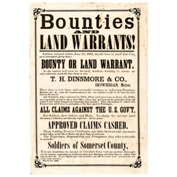 1866 Civil War Broadside, BOUNTIES AND LAND WARRANTS !
