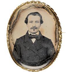c. 1860s Civil War Era Ambrotype of a Gentleman In An Ornate 18 karat Gold Bezel