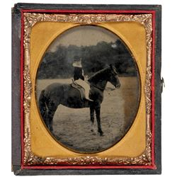c. 1860 Antique Tintype Photograph Of A Child On A Horse