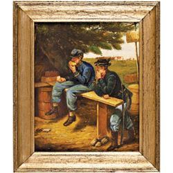 c. 1860s Civil War Camp Scene Original Artwork Oil Painting on Wooden Panel