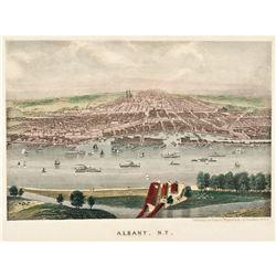 Charles Magnus c. 1860 Civil War Era Color Print City View of Albany, New York