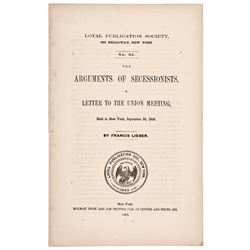 1863 Imprint: ARGUMENTS OF SECESSIONISTS - A LETTER TO THE UNION MEETING