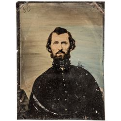 c 1860 Civil War Soldier Large Hand-tinted Tintype Photograph, possible  Officer