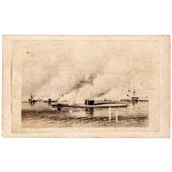 c 1863 Civil War Carte de Visite Image of the Battle of the Monitor and Merrimac