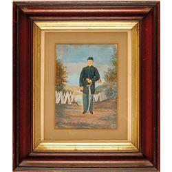 c. 1860s Civil War Era Original Watercolor Artwork Of A Civil War Union Soldier