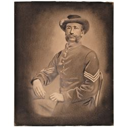 c. 1860s Civil War Era Union Army Soldiers Portrait Art In Charcoal Framed, Nice