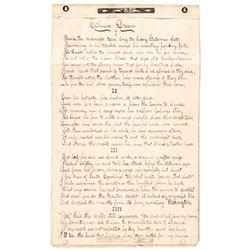 1861 Civil War Manuscript 3 Page, 7 Stanzas Poem: Calhouns Dream of Secession