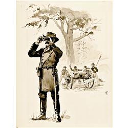 1860s Civil War Era Union General + Soldiers Hand-Drawn Ink Illustration Artwork