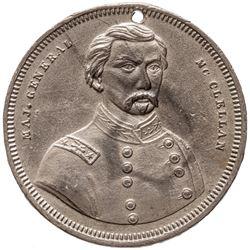 Civil War Dog Tag MAJ. GENERAL McCLELLAN Portrait with THE WAR OF 1861 '62 & '63