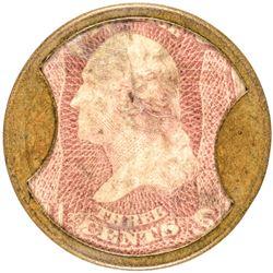 Encased Postage Stamp, EP-46, Scott-95, 3 Cents, J. GAULT. Plain Frame, R-7+