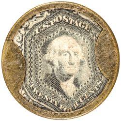 Encased Postage Stamps. REMARKABLE  24¢ J. GAULT. RIBBED FRAME