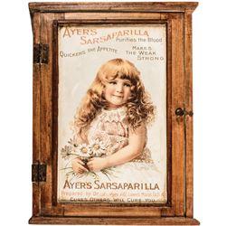 c. 1862 Civil War Ayers Sarsaparilla Tin Advertising Sign Pine Medicine Cabinet