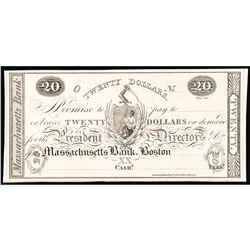 Obsolete, Boston, MA. The Massachusetts Bank, Gem Crisp Proof on Card