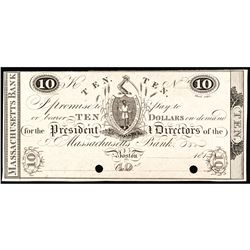 Obsolete Note, Boston, MA. The Massachusetts Bank $10 Choice India Paper Proof