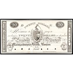 Obsolete Currency, Boston, MA. The Massachusetts Bank $20 India Paper Proof