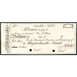 Obsolete Currency, Boston, MA. The Massachusetts Bank $5 India Paper Proof