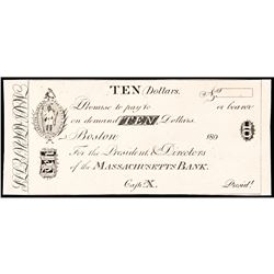 Obsolete Currency, Boston, MA. The Massachusetts Bank $10 India Paper Card Proof