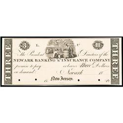 Newark Banking + Insurance Co, Newark, NJ. $3 Proof on Card PCGS Gem New-66 PPQ