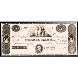 Obsolete Currency, NYC. Phenix Bank. Five Dollars. 18__. (NY-1880 G42) Ch. Proof