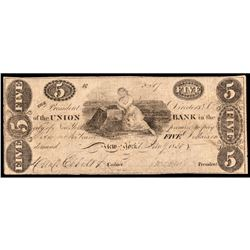 Obsolete Currency, Union Bank, New York, $5 PCGS graded Fine-12