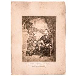 1865 Rare Gardner Albumen Photograph of President Lincoln and His Son Thaddeus