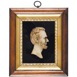 1860s Civil War Era Abraham Lincoln Superb Wax Profile Bust Presentation