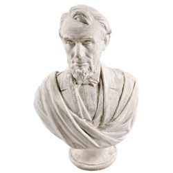 1865 Large Portrait Bust of Abraham Lincoln, Integral Pedestal, by D. Morgan