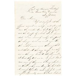 1862 Superb Content Officers Letter President Lincoln Visits with Gen. McClellan
