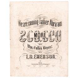 1862 Abraham Lincoln Civil War Union Sheet Music... Father Abraham 300,000 MORE