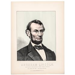 1865 Abraham Lincoln Sixteenth President of the United States - Color Lithograph