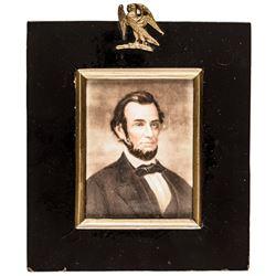 c. 1860s Civil War Era Miniature Painting of President Abraham Lincoln, Framed
