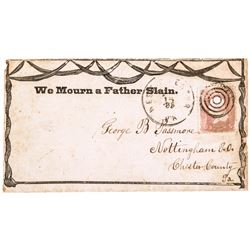1865 Abraham Lincoln Illustrated Mourning Cover, We Mourn a Father Slain.