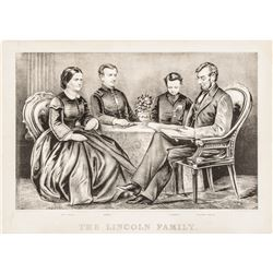 1867 Currier + Ives Lithograph Print Titled: The Lincoln Family