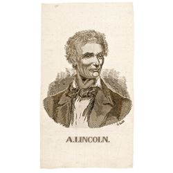 1860 Presidential Campaign Rare Beardless ABRAHAM LINCOLN Silk Ribbon
