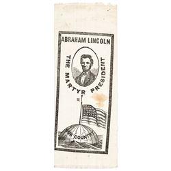 c 1865 Post Assassination Abraham Lincoln Memorial Printed Silk Ribbon