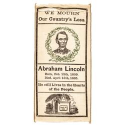 1865 Civil War Era, President Abraham Lincoln Assassination Silk Mourning Ribbon