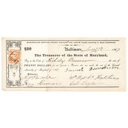 1867 Maryland Pension Document for Service in the Colored Troops