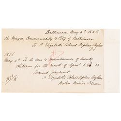 1886 St. Elizabeth's Colored Orphan Asylum Baltimore Receipt of Payment