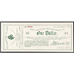 1872 Advertising Note, Henry Ward Beechers Plymouth Pulpit Sermons Receipt NY