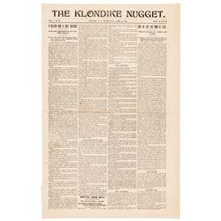1899 Alaska Gold Rush Newspaper, THE KLONDIKE NUGGET, Dawson, Yukon Territory