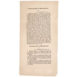 1820 Printed Broadside Massachusetts Convention to Amend the Constitution