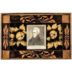 c. 1829 Andrew Jackson Portrait Inauguration Hand-Painted Design Tribute Box