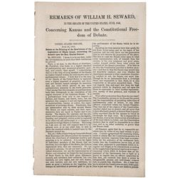 1856 Imprint: WILLIAM H. SEWARD... KANSAS- CONSTITUTIONAL FREEDOM OF DEBATE